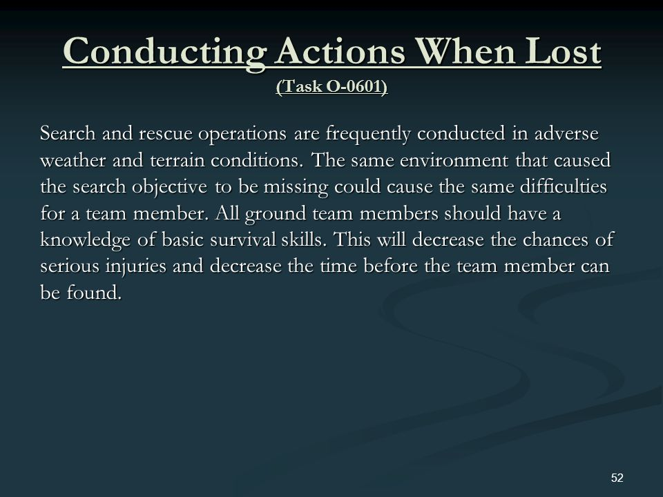 Conducting Actions When Lost (Task O-0601)