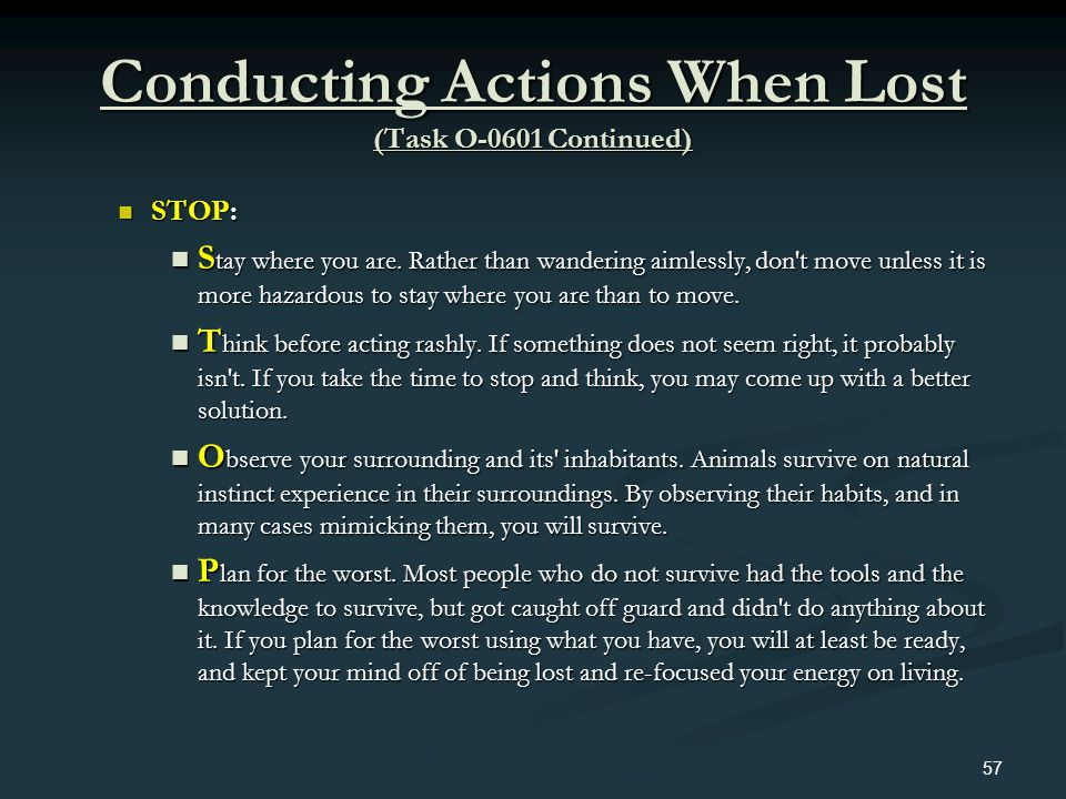 Conducting Actions When Lost (Task O-0601 Continued)