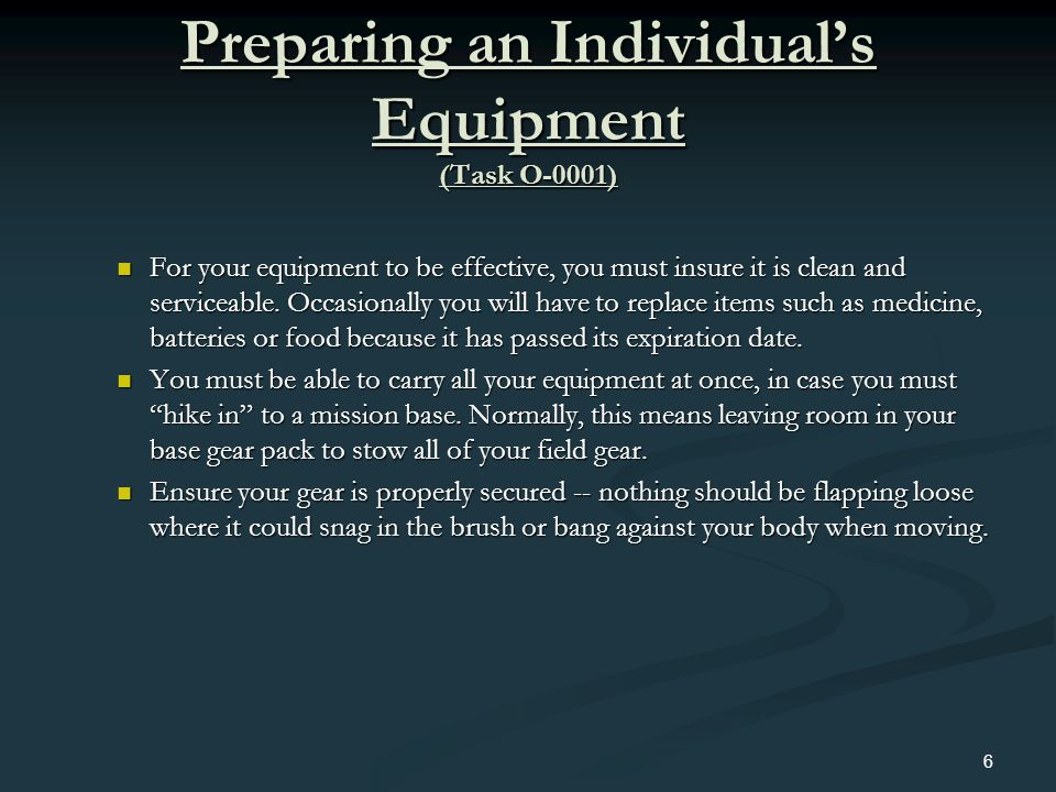 Preparing an Individual's Equipment (Task O-0001)