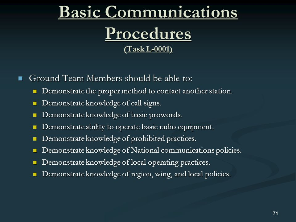 Basic Communications Procedures (Task L-0001)