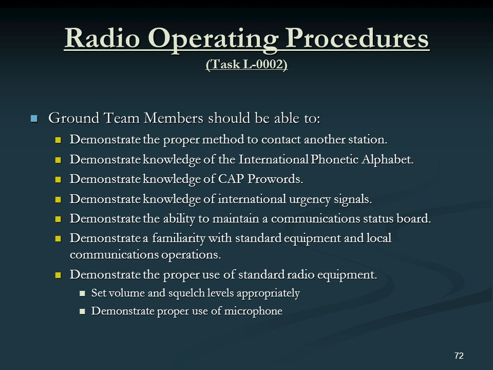 Radio Operating Procedures (Task L-0002)