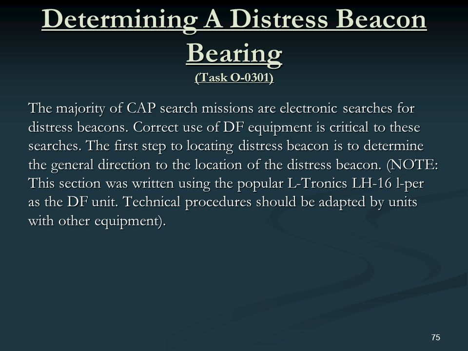 Determining A Distress Beacon Bearing (Task O-0301)