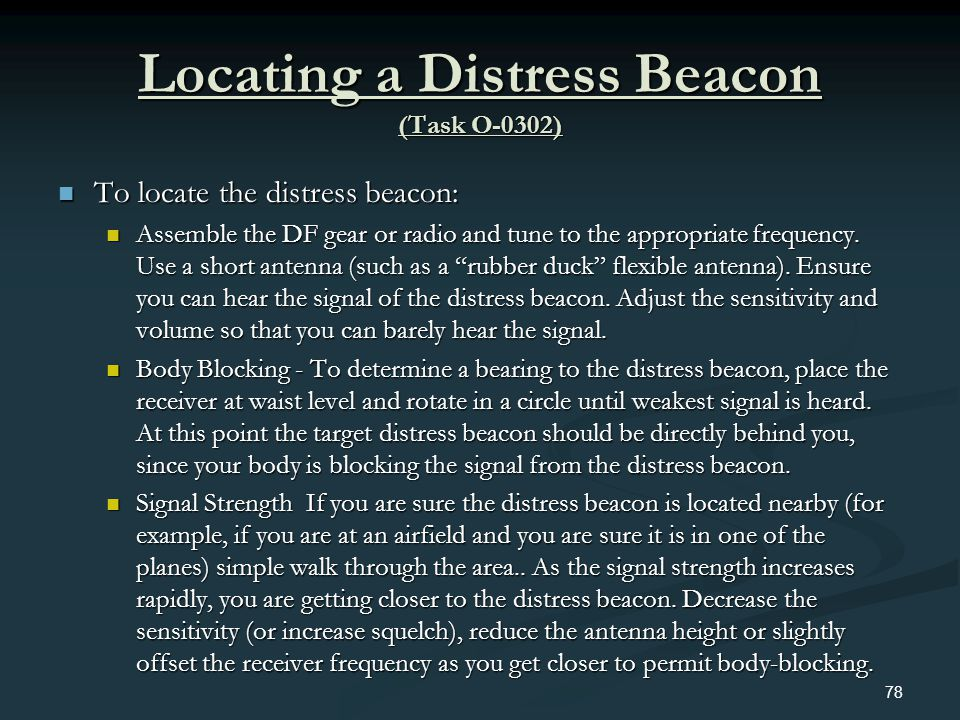 Locating a Distress Beacon (Task O-0302)