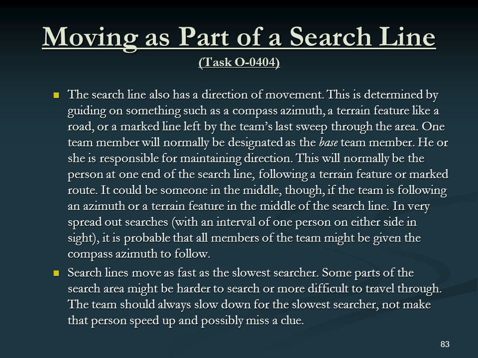 Moving as Part of a Search Line (Task O-0404)