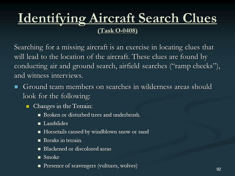 Identifying Aircraft Search Clues (Task O-0408)