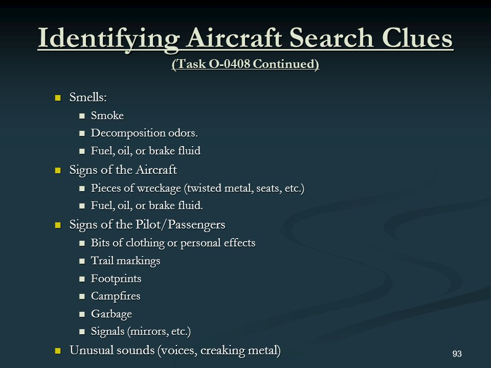 Identifying Aircraft Search Clues (Task O-0408 Continued)
