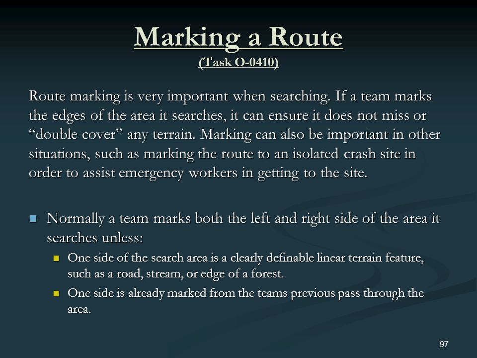 Marking a Route (Task O-0410)