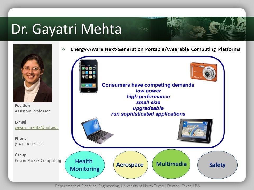 Dr. Gayatri Mehta Multimedia Health Monitoring Aerospace Safety