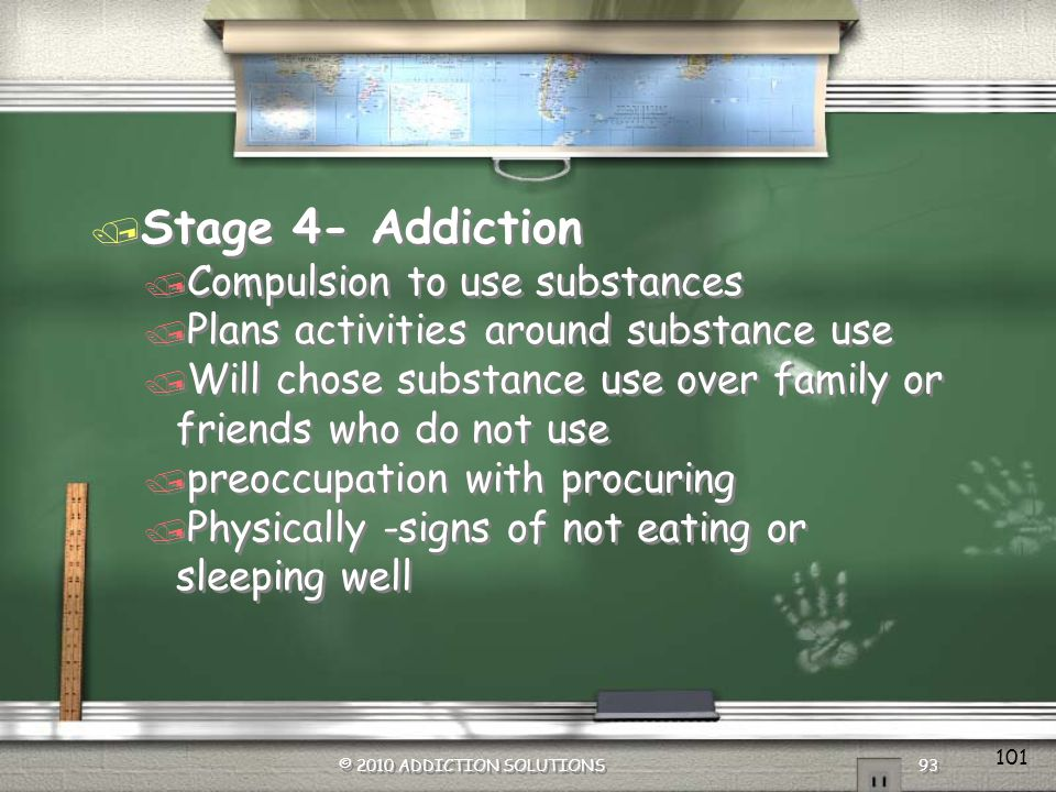 Stage 4- Addiction Compulsion to use substances