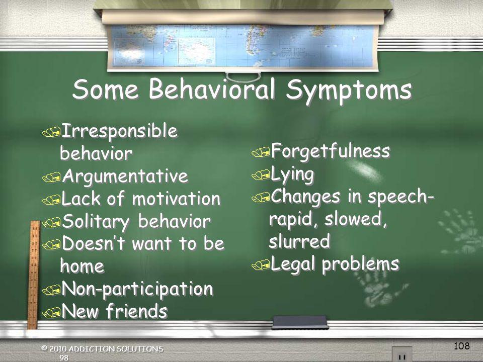 Some Behavioral Symptoms