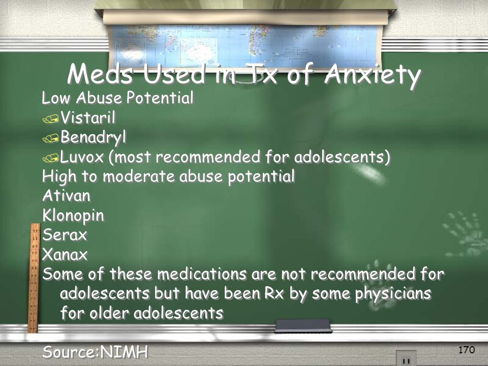 Meds Used in Tx of Anxiety