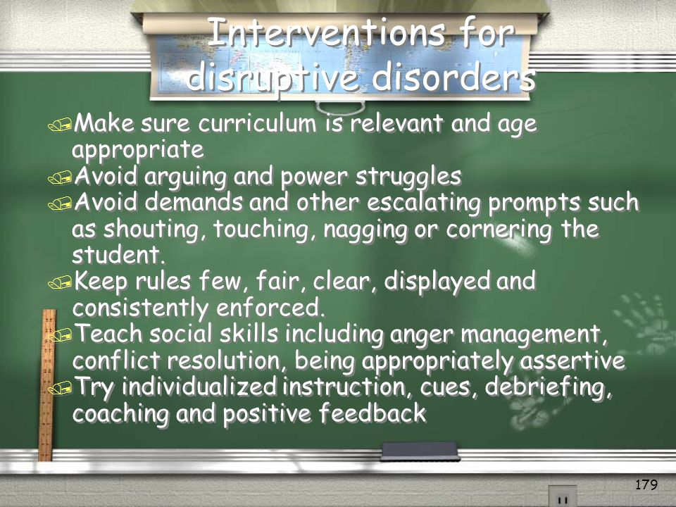 Interventions for disruptive disorders