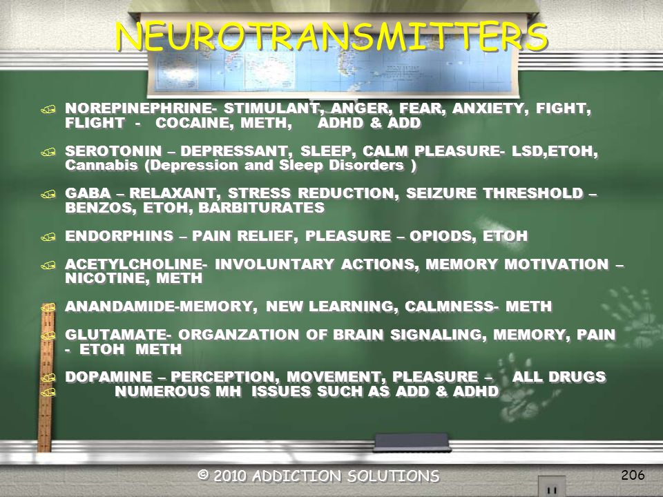 NEUROTRANSMITTERS NOREPINEPHRINE- STIMULANT, ANGER, FEAR, ANXIETY, FIGHT, FLIGHT - COCAINE, METH, ADHD & ADD.