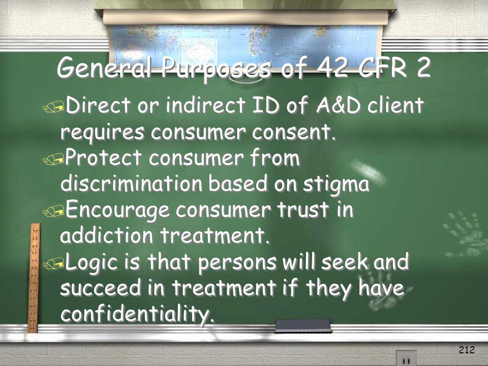 General Purposes of 42 CFR 2