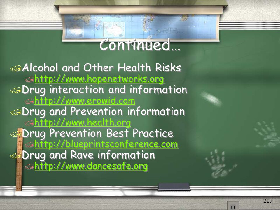 Continued… Alcohol and Other Health Risks