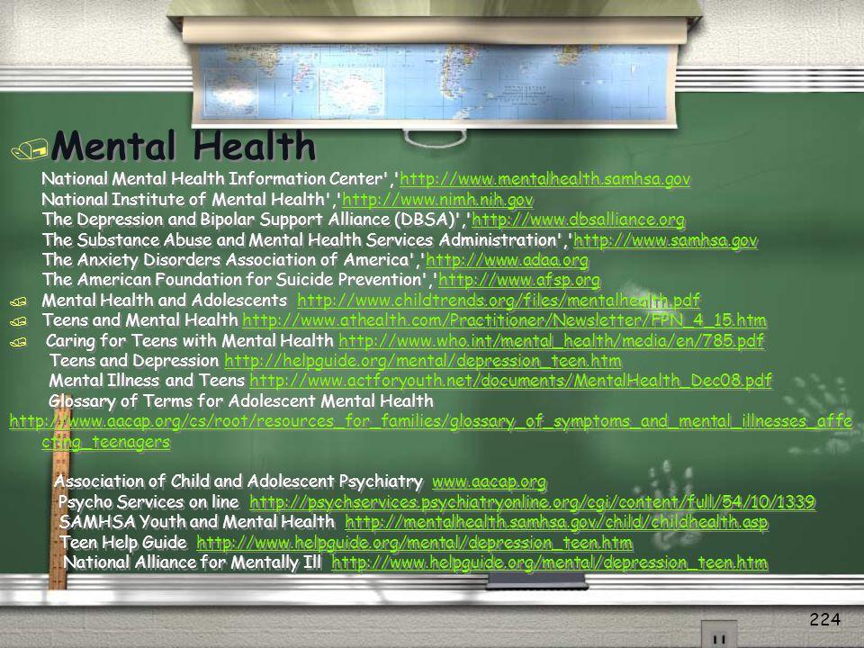 Mental Health National Mental Health Information Center , http://www