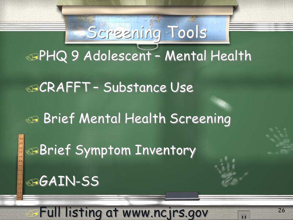 Screening Tools PHQ 9 Adolescent – Mental Health