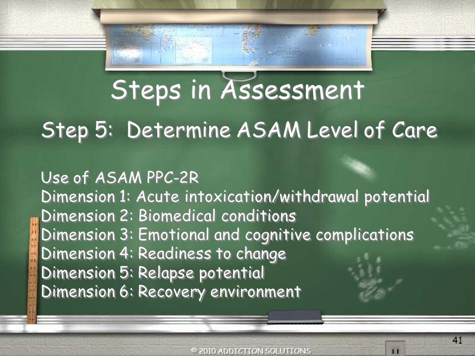 Steps in Assessment Step 5: Determine ASAM Level of Care