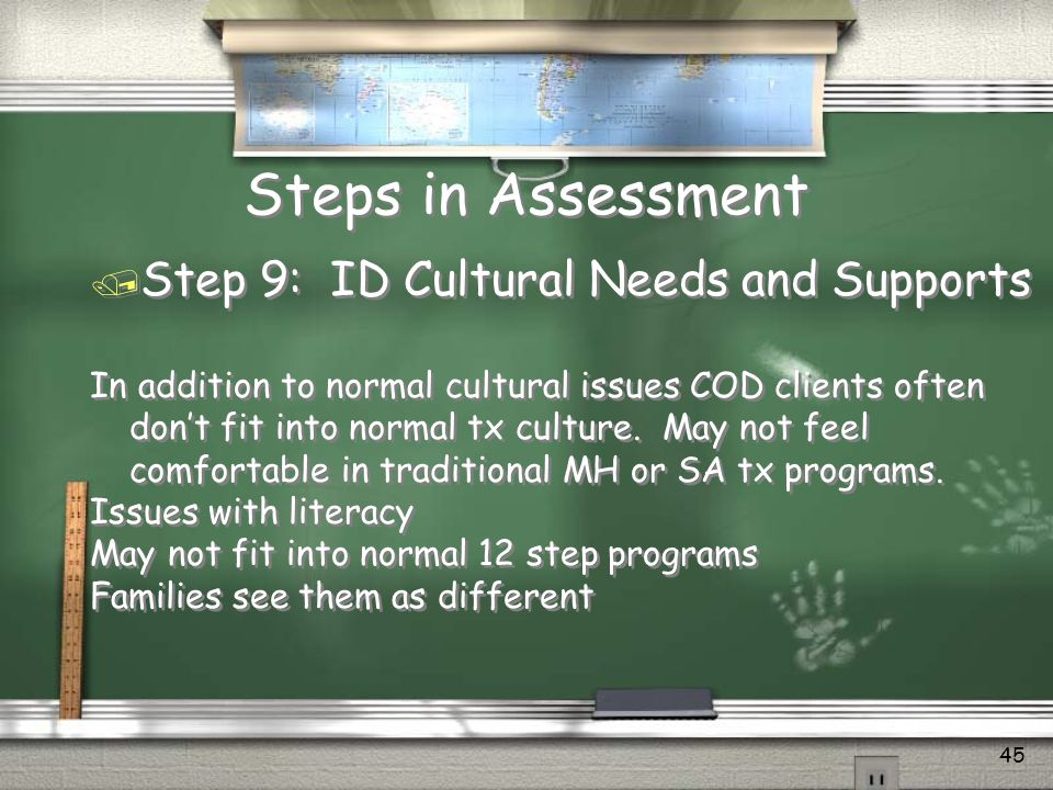 Steps in Assessment Step 9: ID Cultural Needs and Supports