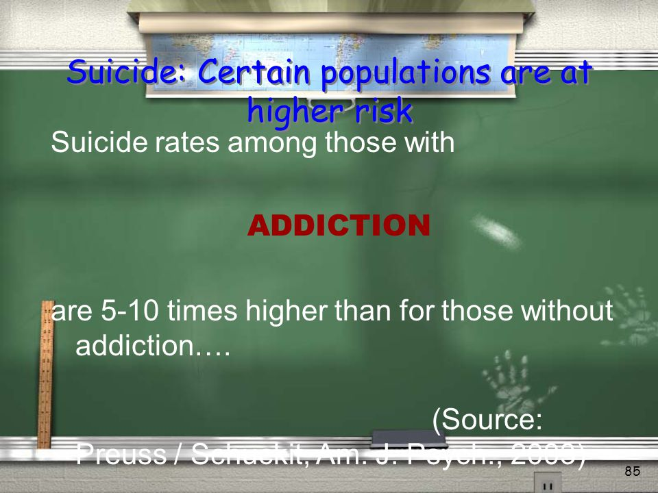 Suicide: Certain populations are at higher risk
