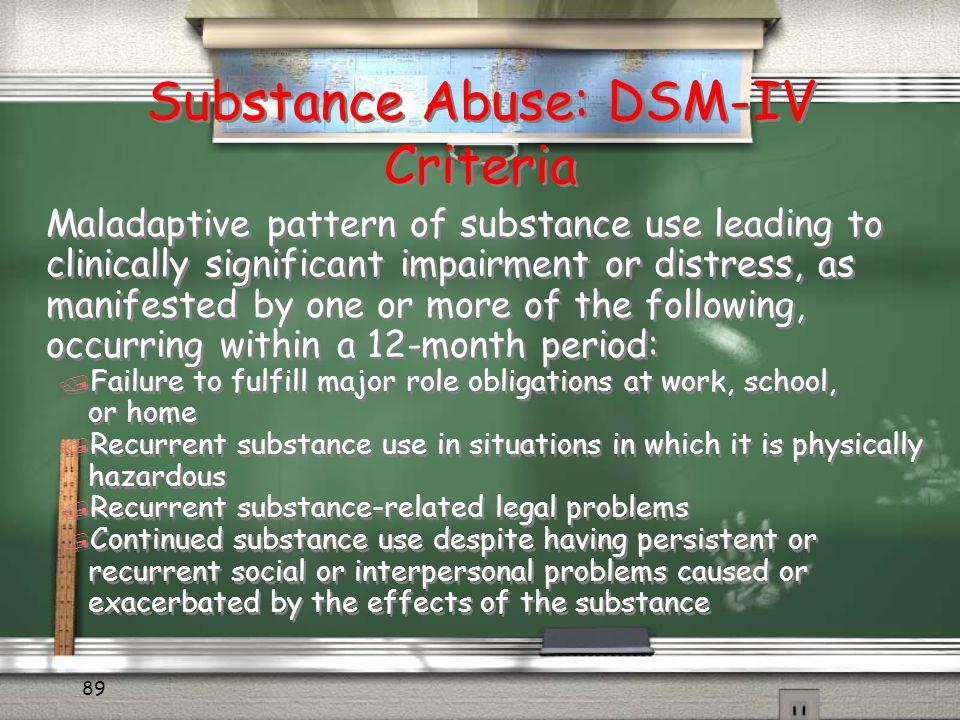 Substance Abuse: DSM-IV Criteria