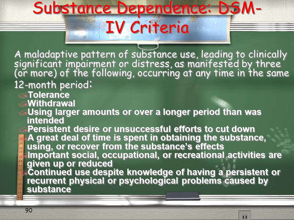 Substance Dependence: DSM-IV Criteria
