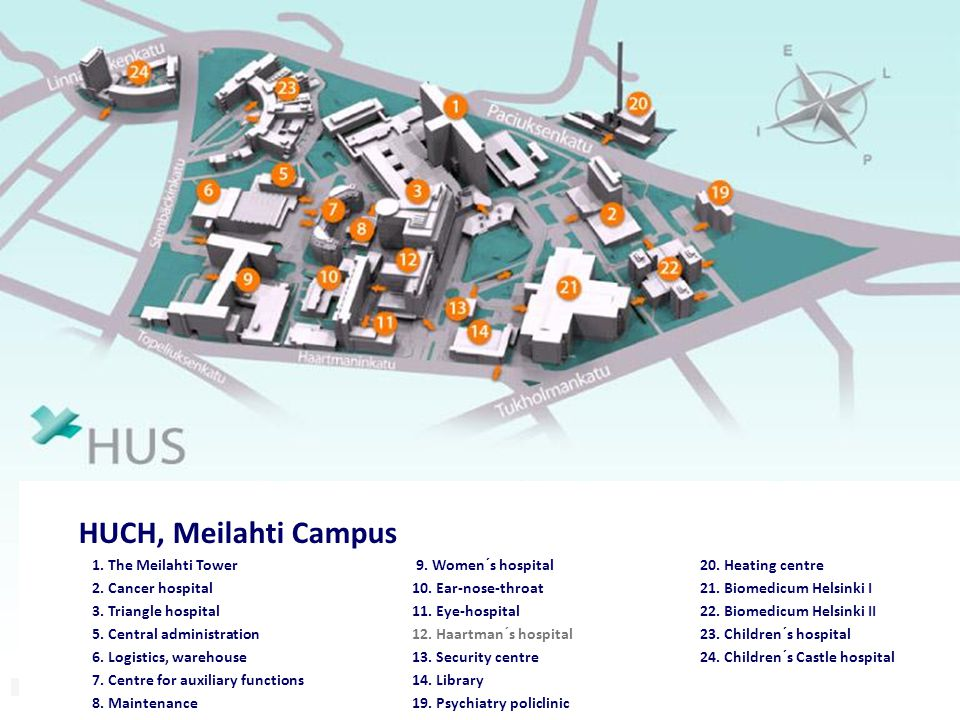 ULEÅBORG KUOPIO. HUCH, Meilahti Campus. 1. The Meilahti Tower 9. Women´s hospital 20. Heating centre.