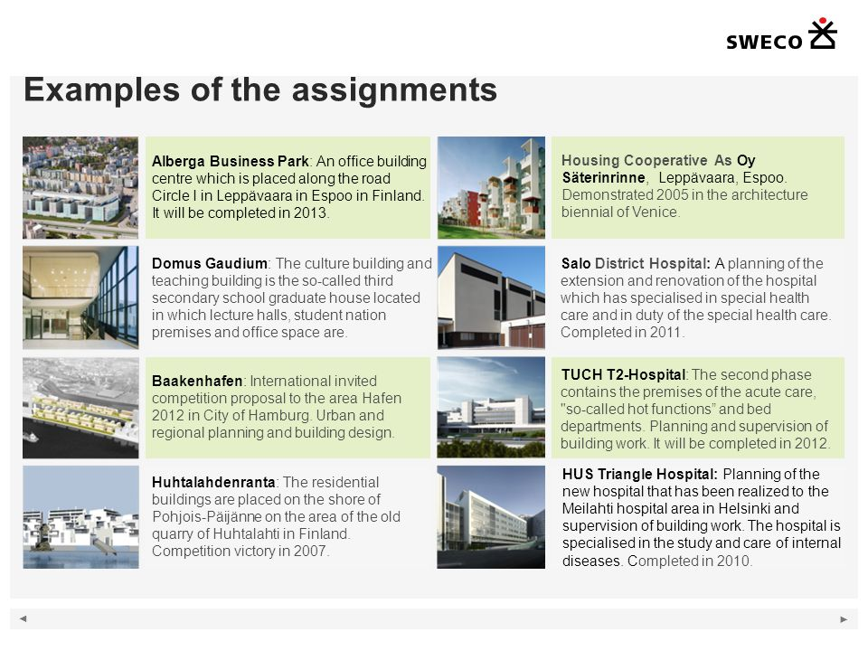 Examples of the assignments