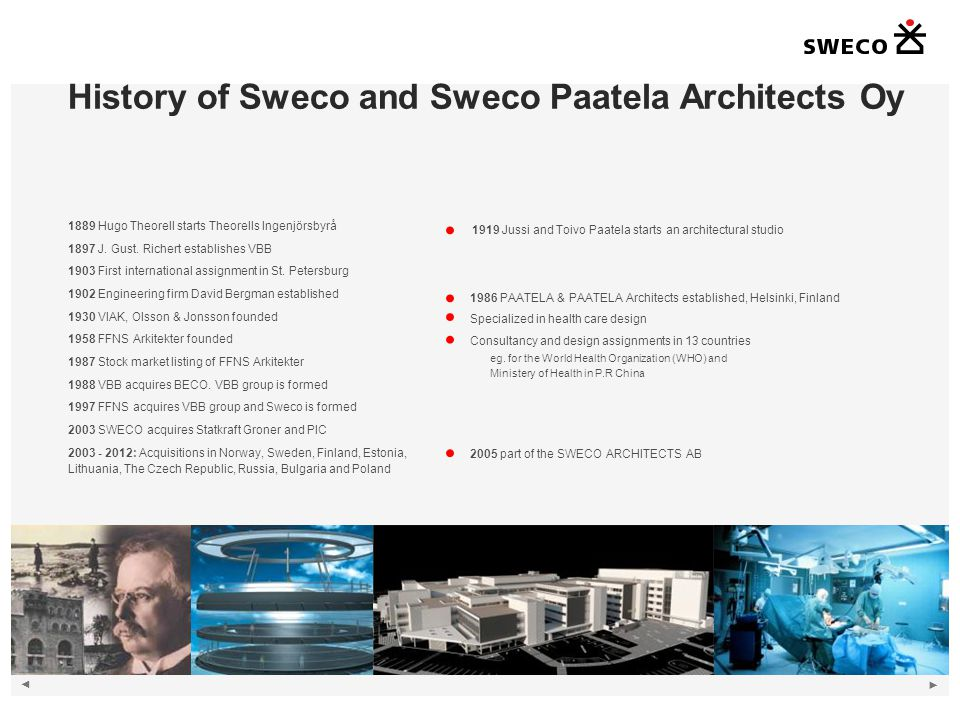 History of Sweco and Sweco Paatela Architects Oy