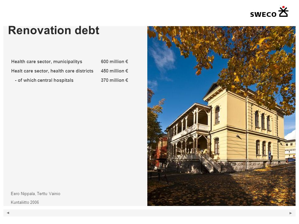 Renovation debt 9 Kuva vanhasta sairaalasta ja lukuja