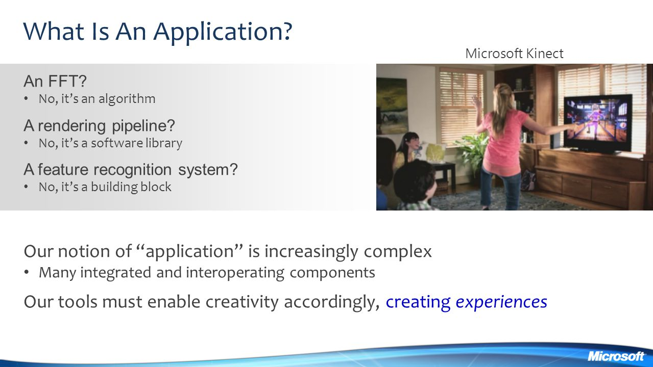 What Is An Application Microsoft Kinect. An FFT No, it's an algorithm. A rendering pipeline No, it's a software library.