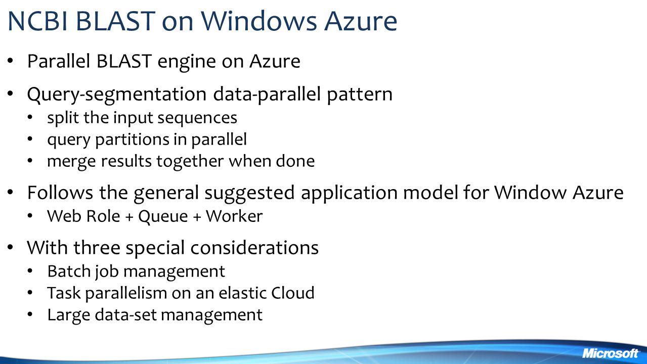 NCBI BLAST on Windows Azure