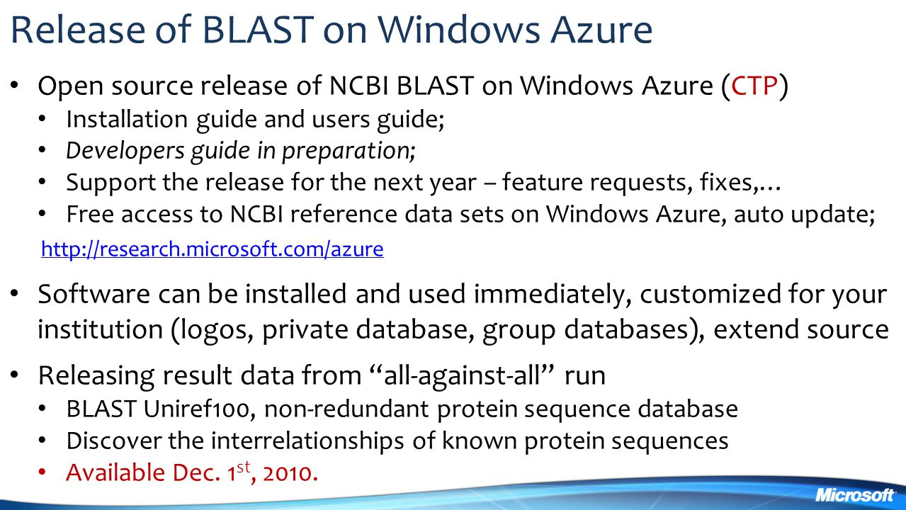 Release of BLAST on Windows Azure