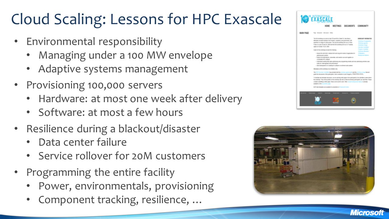 Cloud Scaling: Lessons for HPC Exascale