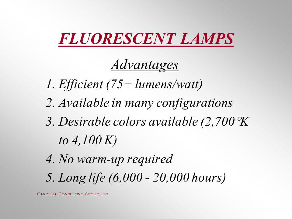 FLUORESCENT LAMPS Advantages 1. Efficient (75+ lumens/watt)
