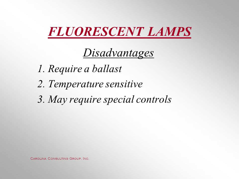 FLUORESCENT LAMPS Disadvantages 1. Require a ballast