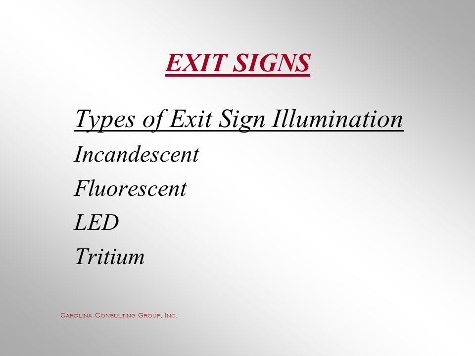 EXIT SIGNS Incandescent Fluorescent LED Tritium