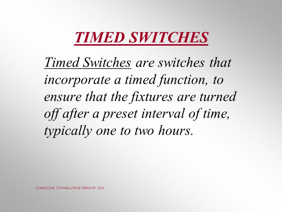 TIMED SWITCHES
