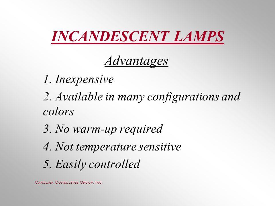 INCANDESCENT LAMPS Advantages 1. Inexpensive