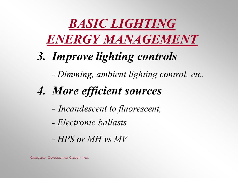 BASIC LIGHTING ENERGY MANAGEMENT