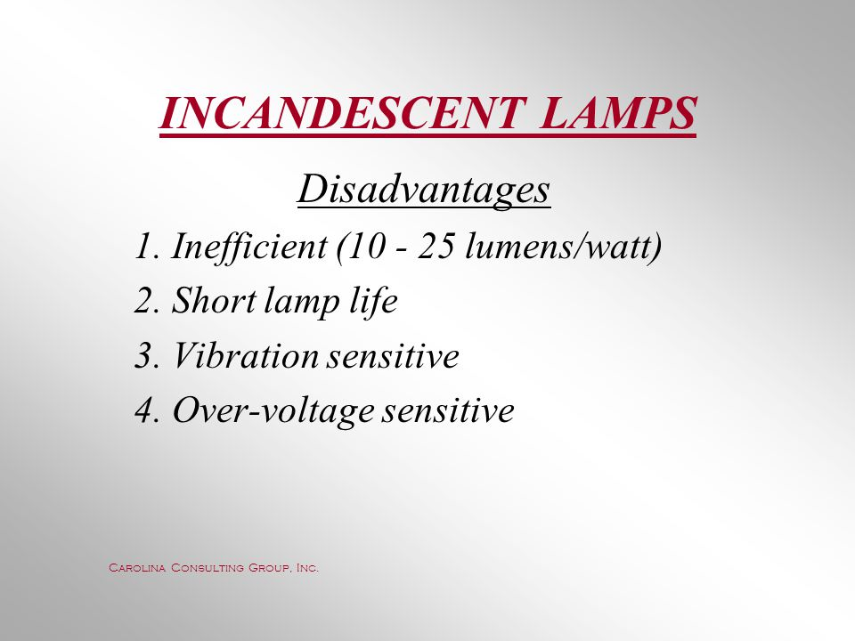 INCANDESCENT LAMPS Disadvantages 1. Inefficient (10 - 25 lumens/watt)