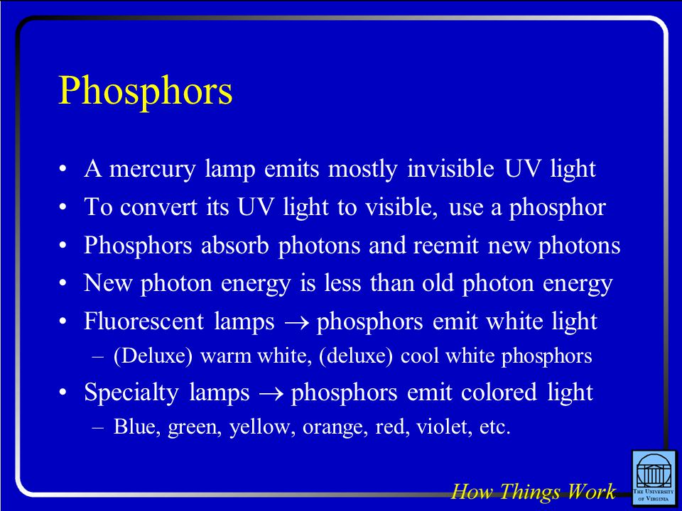 Phosphors A mercury lamp emits mostly invisible UV light