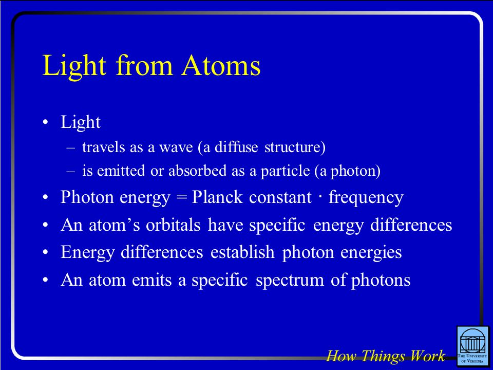 Light from Atoms Light Photon energy = Planck constant · frequency