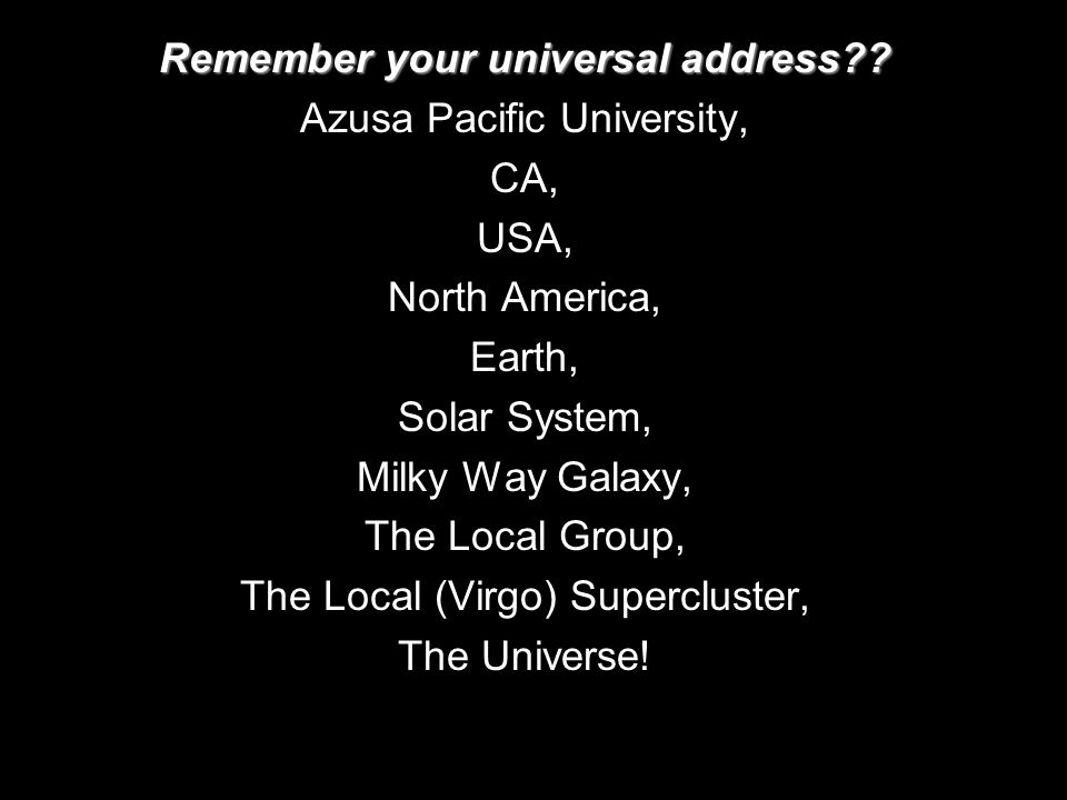 Remember your universal address