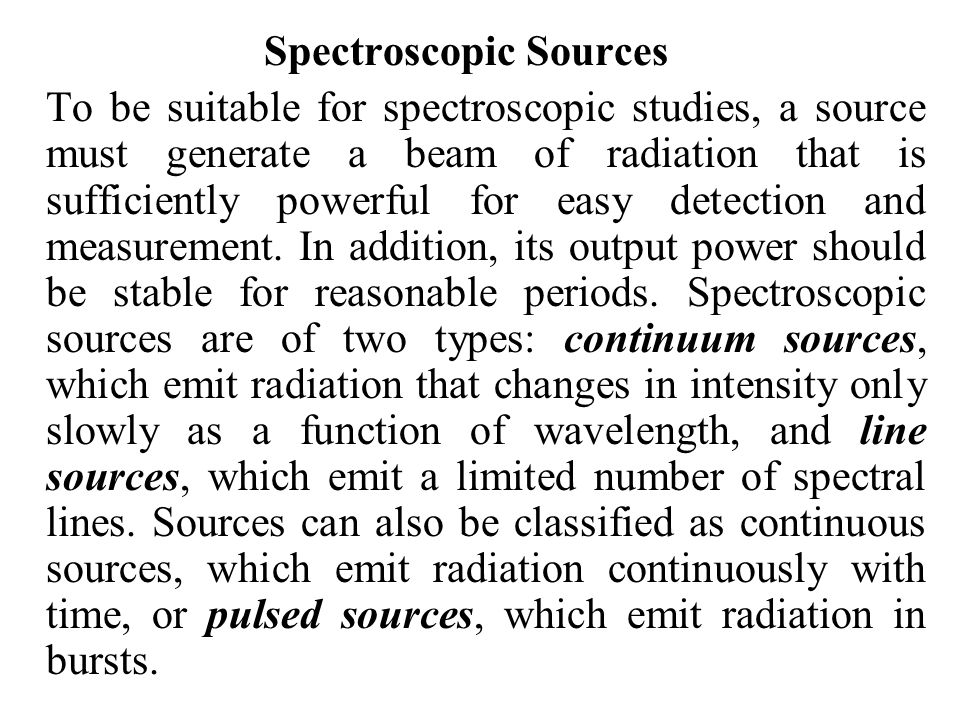 Spectroscopic Sources