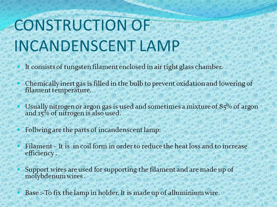 CONSTRUCTION OF INCANDENSCENT LAMP
