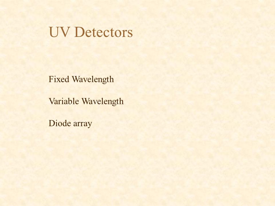 UV Detectors Fixed Wavelength Variable Wavelength Diode array