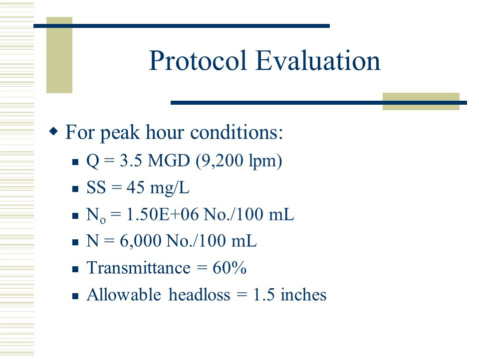 Protocol Evaluation For peak hour conditions: Q = 3.5 MGD (9,200 lpm)
