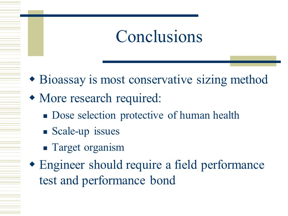 Conclusions Bioassay is most conservative sizing method