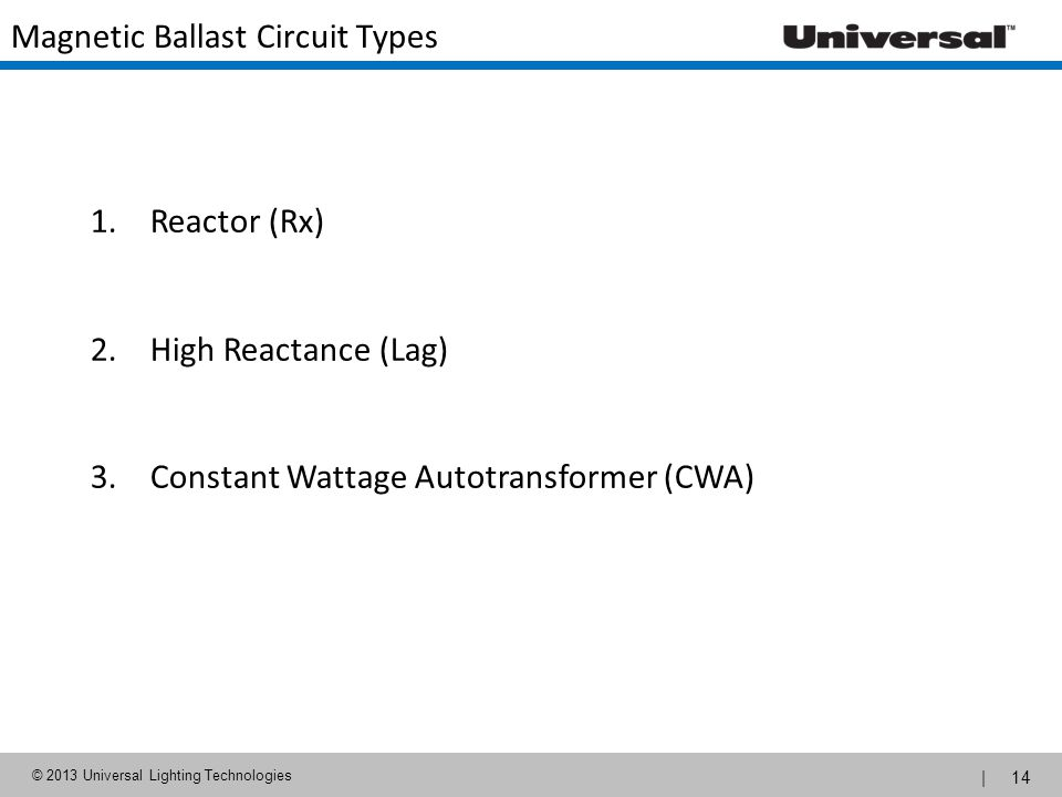 Magnetic Ballast Circuit Types
